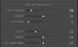 Noise Reduction panel in Lightroom