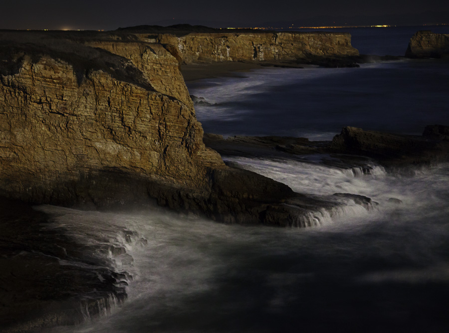 Night photography at the Davenport Cliffs, California