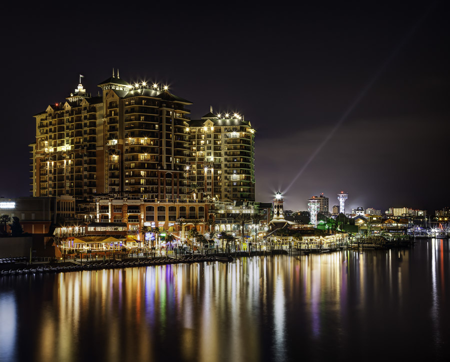 Destin Harbor at night
