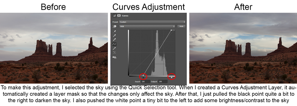 Pictures showing effect of Curves Adjustment Layer on Sky