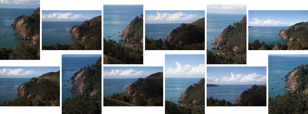 Example of sketching - a series of pictures taken in Marin Headlands as sketches before taking the final shot.