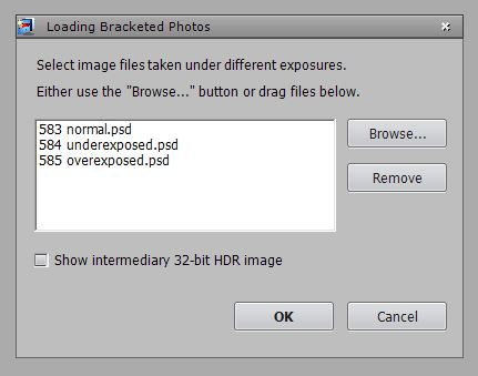 Photomatix Pro - Dialogue Box for Opening Photos