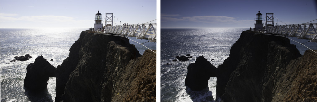 Graduated neutral density filter - example of shots with and without a Grad ND