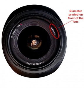Lens Diameter - to determine size of adapter needed for Graduated Neutral Density filter