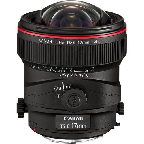 Canon tilt-shift lens showing the tilting and shifting controls available