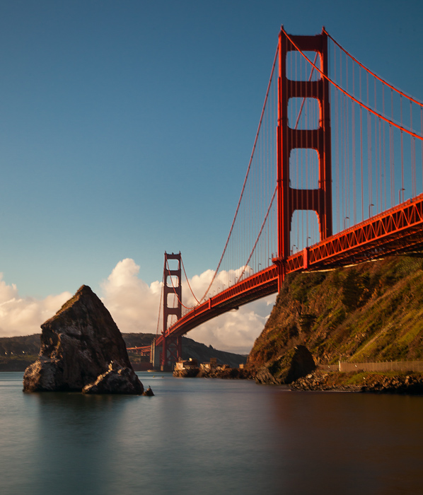Shot of the Golden Gate Bridge from the Sausalito side of the bridge, near Fort Baker