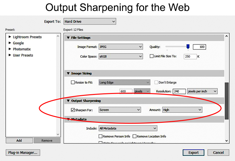Output Sharpening for the web using Lightroom
