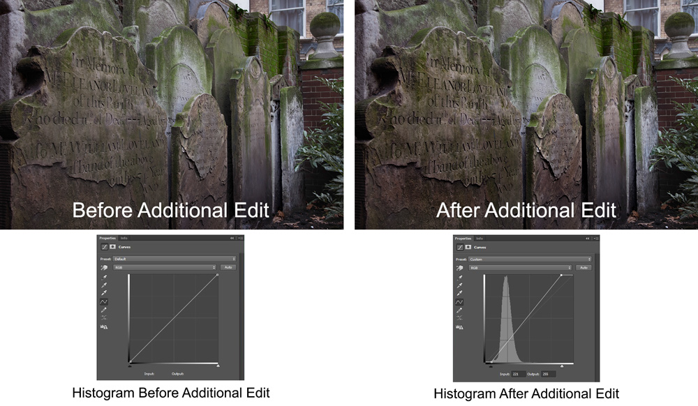 graphic showing before and after photos using curves adjustment layer to create texture