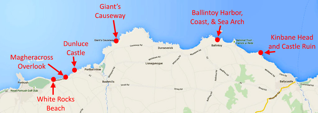 Map of causeway coast attractions, including Giant's Causeway