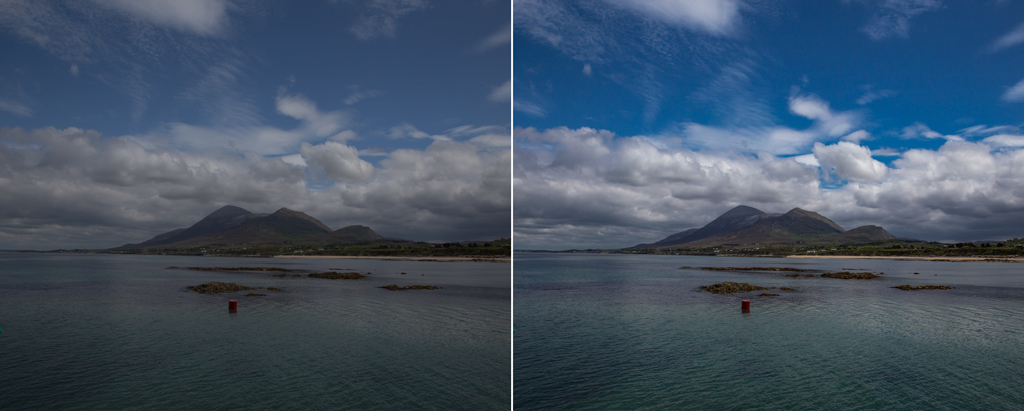 Color enhancement example - sky before and after
