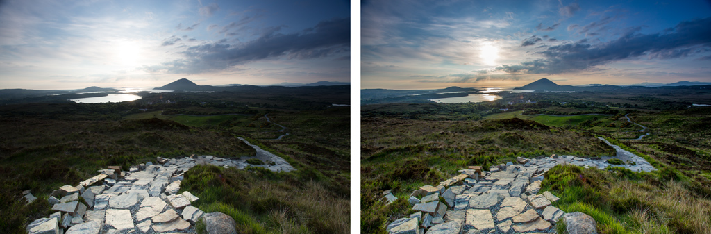 On the left is an original picture. On the right is the result after an edit taking less than 30 seconds consisting largely of decreasing the Highlights and increasing the Shadows.