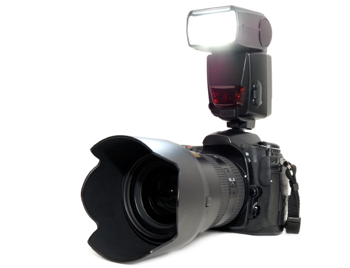 Camera with flash lighting